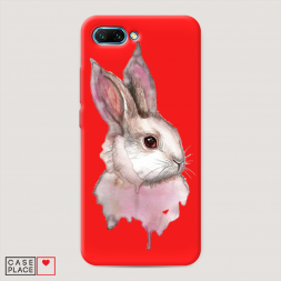 Матовый силиконовый чехол Розовый заяц на Huawei Honor 10