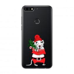 Силиконовый чехол Новогодняя крыска на Huawei Y7 Prime 2018