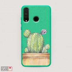 Эко-чехол Кактус с цветком на Huawei P30 Lite