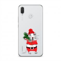 Силиконовый чехол Новогодняя крыска на Huawei P Smart Plus
