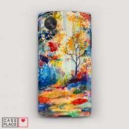 Пластиковый чехол Нарисованный лес на LG Nexus 5
