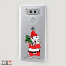 Силиконовый чехол Новогодняя крыска на LG V20
