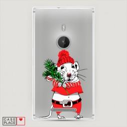 Силиконовый чехол Новогодняя крыска на Lumia 925