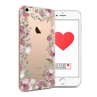 Силиконовый чехол Розовая цветочная рамка на iPhone 6 Plus/6S Plus