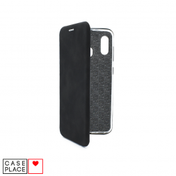 Чехол-книжка из кожи PU для Samsung Galaxy A30 черный мрамор
