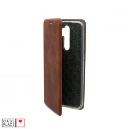 Чехол-книжка из кожи PU для Xiaomi Redmi Note 8 Pro коричневый мрамор