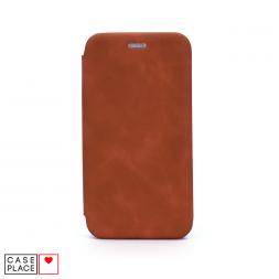 Чехол-книжка из кожи PU для iPhone 11 коричневый мрамор