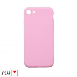 Силиконовый матовый розовый чехол для iPhone 6/6S