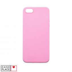 Силиконовый матовый розовый чехол для iPhone 5/5S/SE