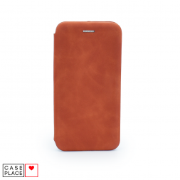 Чехол-книжка из кожи PU для iPhone 7 Plus/8 Plus коричневый мрамор