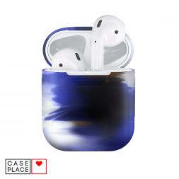 Камуфляжный синий чехол для AirPods из ТПУ-силикона