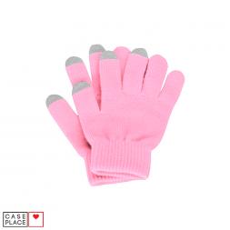 Сенсорные перчатки розовые для экрана телефона