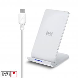 Беспроводное зарядное устройство с функцией быстрой зарядки Double Coil Vertical WP-U84 белое