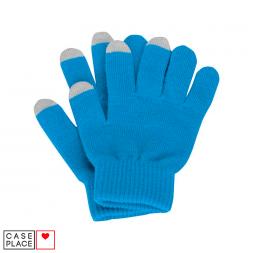 Сенсорные перчатки голубые для экрана телефона