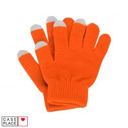 Сенсорные перчатки оранжевые для экрана телефона