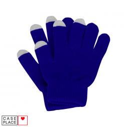 Сенсорные перчатки синие для экрана телефона